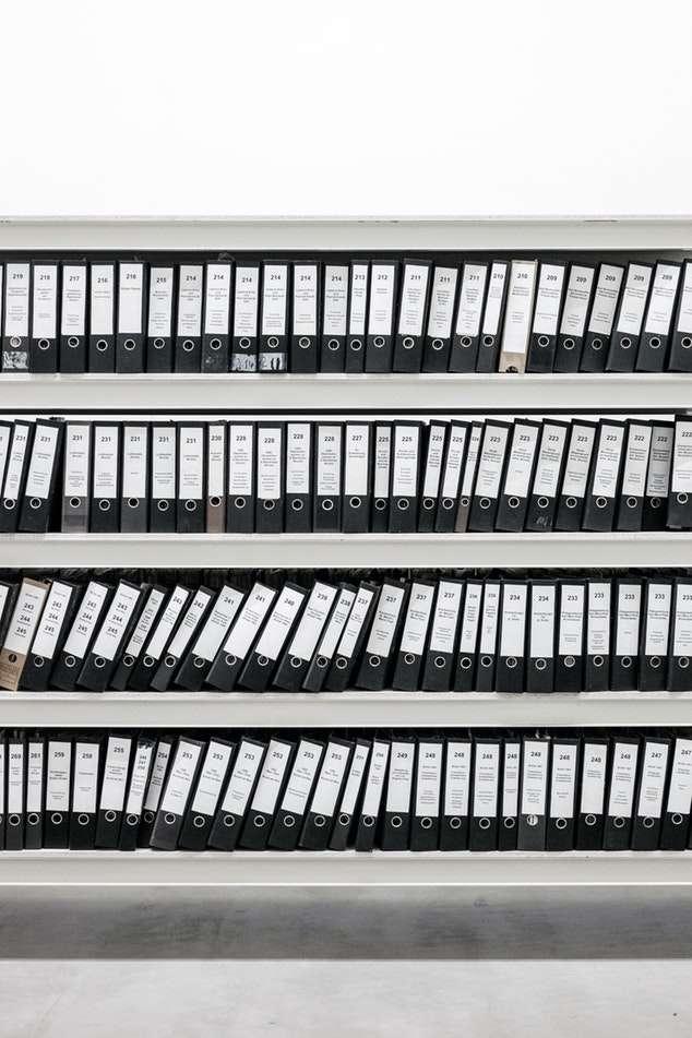 Binders on shelves, Berlin, Germany